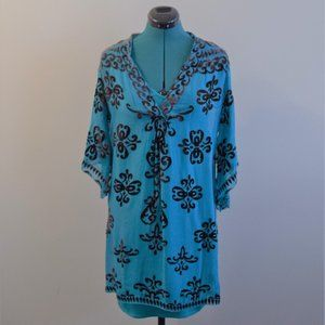 Turquoise Silk Tunic Dress with Slip